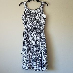 Calvin Klein Fit & Flare White & Black Dress 4